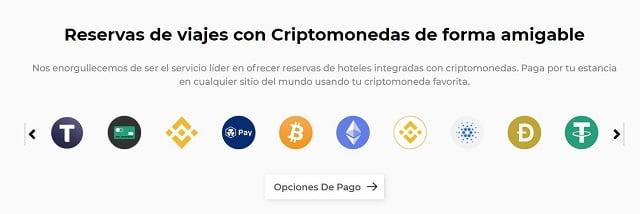opciones de pago con criptomonedas en travala.com