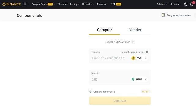 comprar criptomonedas en binance con pesos colombianos